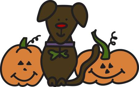 pup: Our little pup has joined in the Halloween fun to create the perfect Halloween.  Create a trick or treat bag decorated with these darling creatures. Illustration