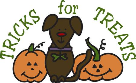 Our little pup has joined in the Halloween fun to create the perfect Halloween.  Create a trick or treat bag decorated with these darling creatures. Ilustração