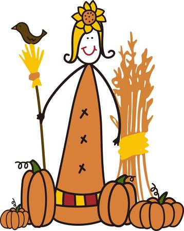 tons: A most unusual scarecrow with tons of country charm  This garden princess looks just lovely on a special sweatshirt for gifting to a gardener.