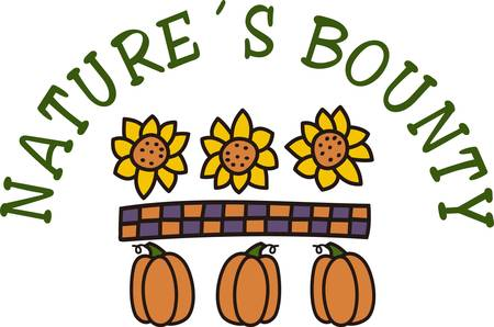 natures: Sunflowers and pumpkins make a lovely statement in the colors of autumn. Add a checked strip and you have the perfect border for your fall table linens Illustration