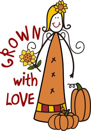 grown with love: A most unusual scarecrow with tons of country charm  This garden princess looks just lovely on a special sweatshirt for gifting to a gardener.