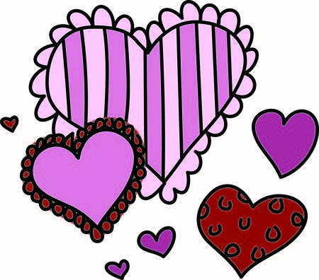All kinds of hearts come together to create this super cute valentine for baby.  It is perfect for creating the perfect shirt for that first Valentines Day Ilustração