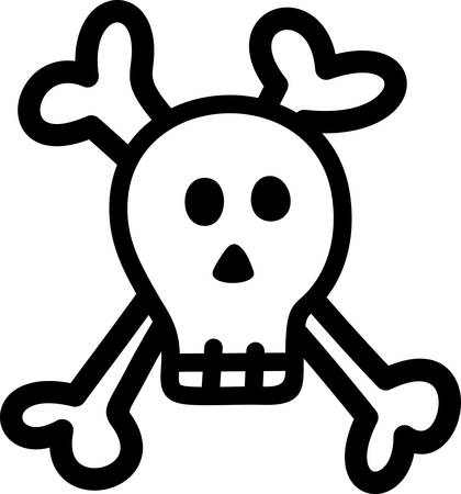 privateer: This kid style skull and crossbones sends a warning.  Create a memorable pirate costume embellished with this fun design.