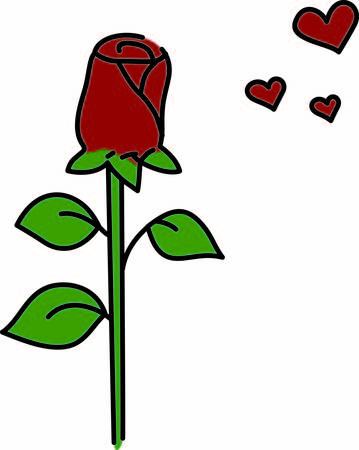 long stem: Nothing says love quite like a single long stem rose.  The perfect valentine for decorating greetings and apparel. Illustration