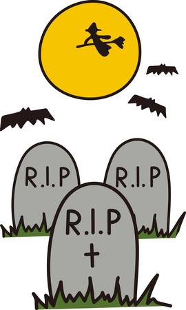 headstone: A witch flies across the moon and bats flutter about  it must be Halloween in the graveyard  Great tee shirt art