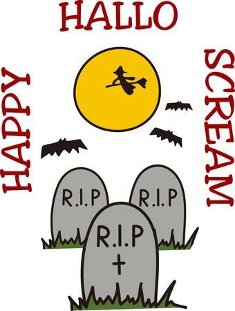cripta: Una strega vola attraverso la luna e pipistrelli svolazzano su di esso deve essere Halloween nel cimitero Grande maglietta arte Vettoriali