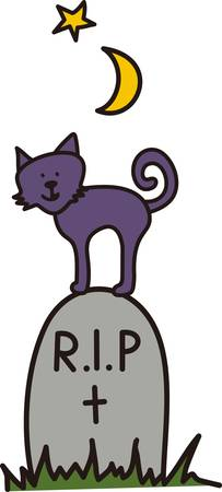atop: Our cute little kitty looks forward to Halloween atop a tombstone.  This smiling face adds a pretty smile to  spooky party dcor