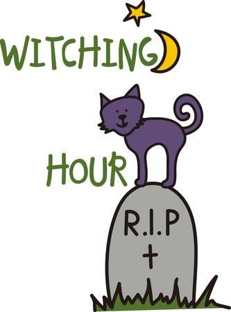 cripta: Il nostro piccolo grazioso gattino attende Halloween in cima a una lapide. Questo volto sorridente aggiunge un bel sorriso per spettrale decoro festa