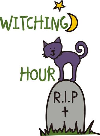 Our cute little kitty looks forward to Halloween atop a tombstone.  This smiling face adds a pretty smile to  spooky party dcor