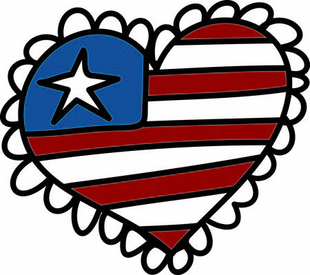 A patriotic design heart with a trendy scallop is a perfect way to show USA pride.  This design works great in print or apparel decoration.