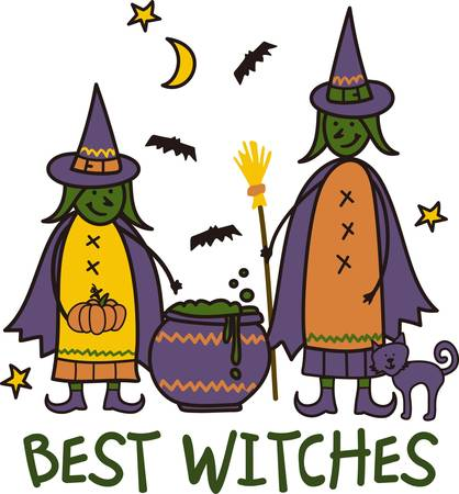 crone: Two little witches brew up a special potion for Halloween night.  Bats cats stars and goblins cook up a special spooky creation