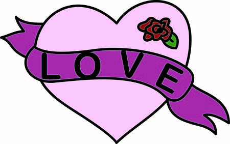heartfelt: This trendy heart with banner and rose bloom is a tattoo artist favorite.  You can use it for creating the most heartfelt embellishing you can imagine