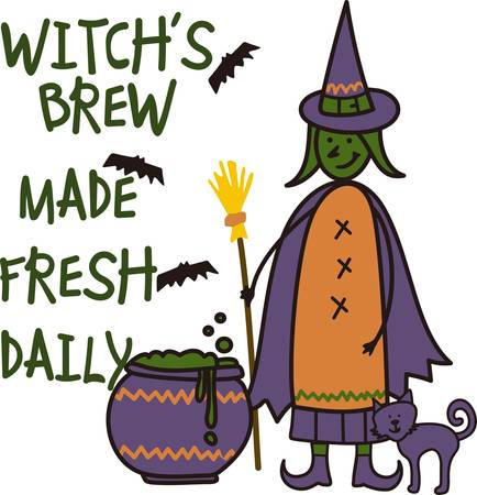 crone: Our witch and her kitty brew up a magical potion for Halloween night.  What will her creation decorate for you