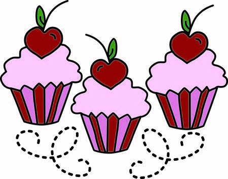 Whats better than a cupcake  How about 3 cupcakes made even better with a heart on top.  Amazing decoration for so many projects from tea towels to tee shirts Иллюстрация