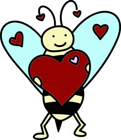 Our cute little bee asks you to bee mine for a special Valentine.  We love the added touch of hearts on the antenna Ilustração