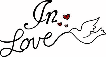 This lovely graphic of stylized text and a dove is just perfect for weddings and bridal showers.  Tiny hearts seem to say love is in the air. Иллюстрация