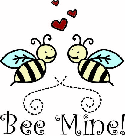 These super cute little bees ask the age old question  will you be mine  The bottom swirl creates a lovely framing effect making it an absolutely perfect decoration for apparel or print. Ilustração