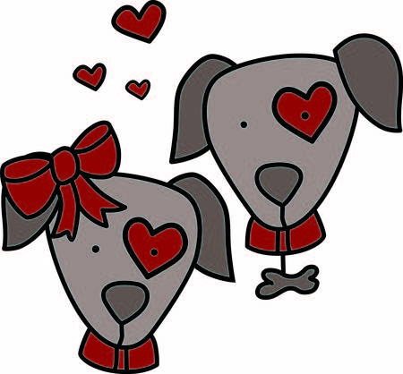 mutt: This puppy love looks like the real thing with hearts all around.  We just love the little girl dogs big red bow