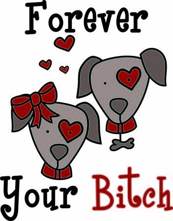 pooch: This puppy love looks like the real thing with hearts all around.  We just love the little girl dogs big red bow