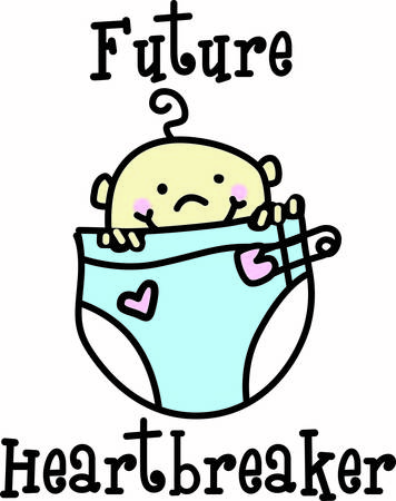 diaper pins: We have a great big diaper for a little bitty baby  This special diaper has a special heart for just the right decorative touch Illustration