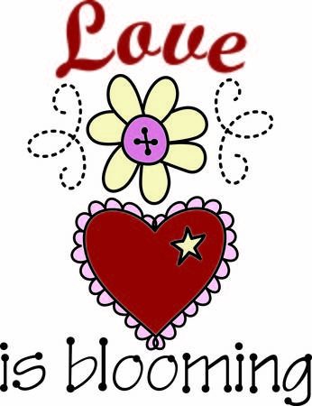 sigh: Two symbols of love in one graphic.  A daisy and a heart made all the sweeter with a scallop border and a button center