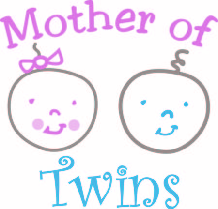 Twins  what could be better  These happy twins are shown in a super cute kid like drawing creating the perfect addition to baby gear of all sorts. Ilustracja