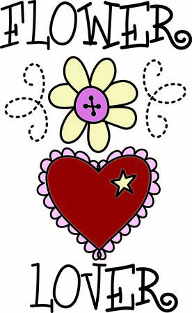 Two symbols of love in one graphic.  A daisy and a heart made all the sweeter with a scallop border and a button center