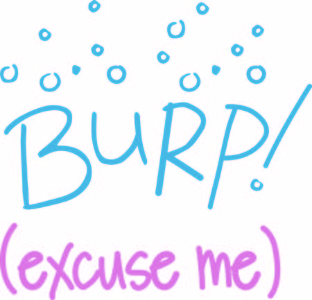 burp: This cute burp text and graphic is just what you need to decorate burp cloths and bibs.  Amazing baby gifts Illustration