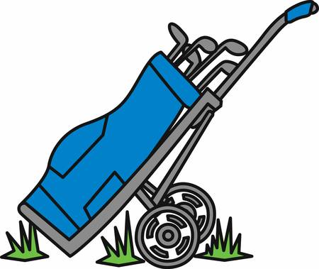Blue golf bag on a hand caddy in the grass.