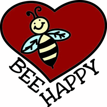 wherever: Our happy bee is filled with love and brings happiness wherever he flies.  This is a very trendy design  great for kid or adult projects