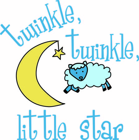 sheep love: Make counting sheep a little cuter with this precious nursery rhyme graphic.  We love the star hanging off the moon  What a unique touch.