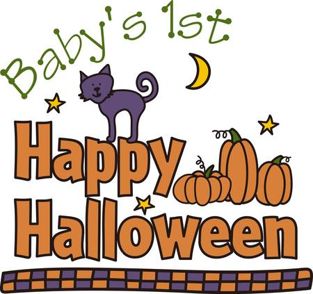 stroll: Send Halloween greetings with a friendly kitty out for a stroll through the night.  The checked border completes the look for a super pretty edging.