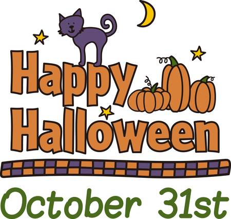 Send Halloween greetings with a friendly kitty out for a stroll through the night.  The checked border completes the look for a super pretty edging.