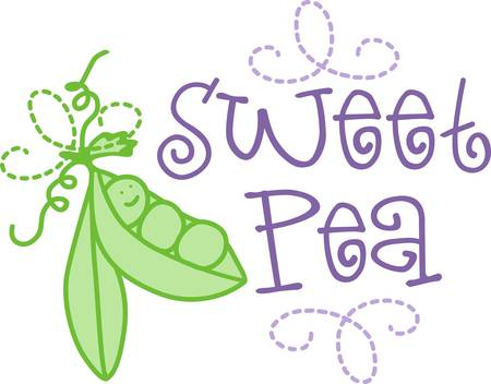 What a sweetie  just a little sweet pea  Add this fun little pod of peas to a gift for baby Ilustração