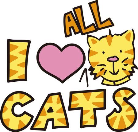 Here s the perfect design for the cat lover.  The cute kitty and kitty print letters make the design so very cute