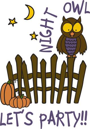 lets party: Our cute little owl perches on a fence ready for Halloween fun. He is ready to turn your trick or treat bag into a work of art Illustration