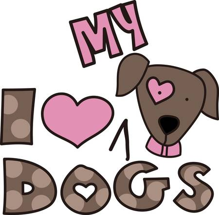 pooch: Here s the perfect design for the dog lover.  The lovable pup and polka dot print letters make the design so very cute