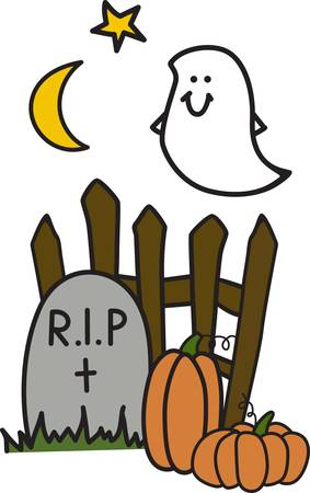 rest in peace: Add our happy little ghost to your Halloween frock for light hearted appeal.  His smile is sure to make you smile. Illustration