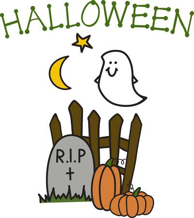 light hearted: Add our happy little ghost to your Halloween frock for light hearted appeal.  His smile is sure to make you smile. Illustration