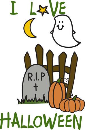 Add our happy little ghost to your Halloween frock for light hearted appeal.  His smile is sure to make you smile. Illustration