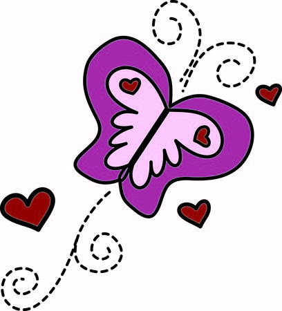 two hearts together: Two favorite designs come together in this pretty design.  Hearts and butterflies are a sure way to make your project especially eyecatching. Illustration