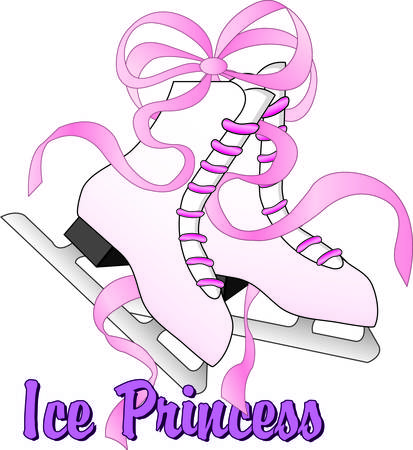 Take to the ice in these beautiful skates with pink satin laces.  Use this pretty graphic to create the perfect shirt bag or hat for your ice princess.