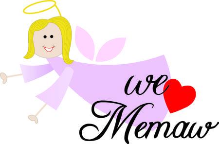 little one: Cada peque�o necesita un memaw a amar y cuidar de ellos. A�adir este �ngel de la guarda memaw a proyectos para la gente peque�a como un recordatorio de su memaw precioso. Vectores