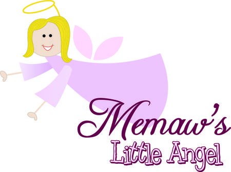 guardian angel: Every little one needs a memaw to love and watch over them.  Add this guardian angel memaw to projects for the little people as a reminder of their precious memaw. Illustration