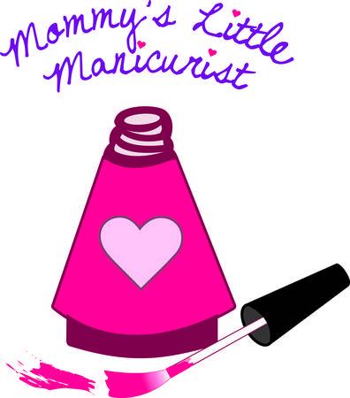 manicurista: Esmalte de u�as Especial para la princesa especial en una botella coraz�n decorado. As� como pretties pulir las u�as este dise�o puede bastante su ropa o proyecto bolsa. Vectores