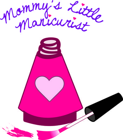 Special nail polish for the special princess in a heart decorated bottle.  Just as polish pretties the nails this design can pretty your apparel or bag project. Ilustrace