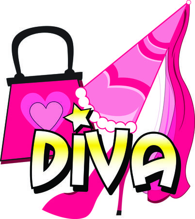 Here are your basic diva supplies  stiletto heels princess hat and a designer bag  This royally fun graphic is a must for your princess gear Illusztráció