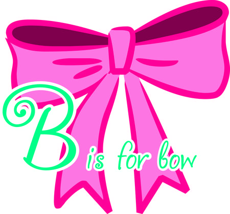 so that: A big pink bow for a pretty little lady.  So so cute for decorating the little girl room or creating a that special custom clothing item. Illustration