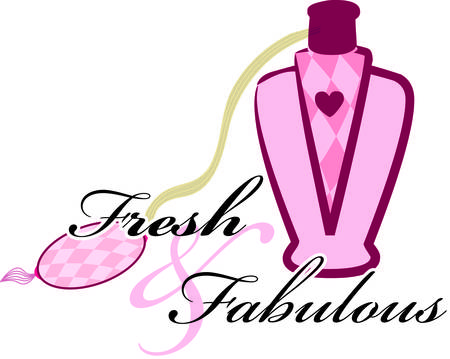 Only a true princess could have such a lovely perfume atomizer.  We love the tiny pink heart that seems to set the bottle apart from any others.  Try this graphic on a cosmetic bag