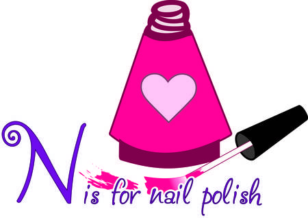 lacquer: Special nail polish for the special princess in a heart decorated bottle.  Just as polish pretties the nails this design can pretty your apparel or bag project. Illustration